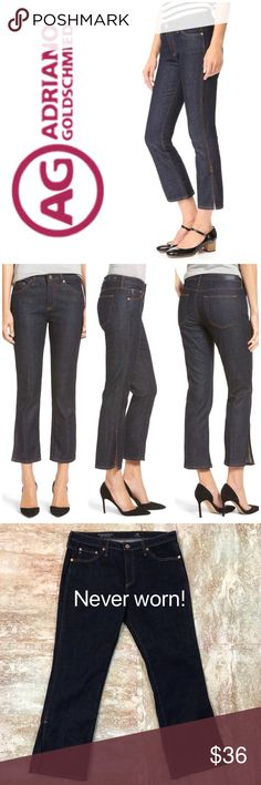 """Adriano Goldschmied Jodi Crop Jeans Adriano Goldschmied The Jodi Crop  Description: Woven cotton-blend jeans * High-rise * Belt loops * Front curved pockets * Coin pocket * Back slip pockets * Back logo patch * Split cuffs * Contrast topstitching and panel seaming * Button closure with zip fly Measurements: * Rise: 9½"""" Inseam: 25"""", Approx Washed Once, but not worn. Bought new. Ag Adriano Goldschmied Jeans Ankle & Cropped"""