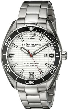 Stuhrling Original Men's 515.01 Aquadiver Regatta Endeavor Swiss Quartz Date Stainless Steel Bracelet Watch -- Continue to the product at the image link.