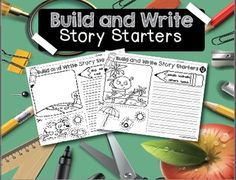 These story starters are excellent for little learners. There are detailed black and white pictures on each page that students can add to by cutting and gluing images. Then the students write a story using the pictures they have just created. This helps with writing skills and adding details.