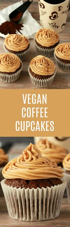 Vegan Coffee Cupcakes Vegan Coffee Cupcakes,Food Perfectly moist and richly flavored vegan coffee cupcakes with coffee buttercream frosting. Deliciously rich and fabulous sprinkled with a little cinnamon. Vegan Treats, Vegan Foods, Vegan Snacks, Vegan Dishes, Desserts Végétaliens, Vegan Dessert Recipes, Baking Recipes, Cinnamon Recipes, Free Recipes
