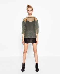 ZARA FRILLED TULLE TOP    SIZE M    COLOR: Pastel green    Round neck. Long sleeves. Semi-sheer Mesh fabric. Belled sleeves. Frilled detail on the sleeves.     HEIGHT OF MODEL-178 cm. / 5′ 10″    100% polyester     New with Tag | eBay!
