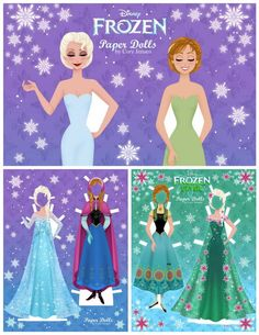 Free printable Frozen Anna and Elsa paper dolls By Cory Jensen - tons of costumes