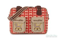 Pink Lining Mama et Bebe changing bag - Cream bows on red http://youblue.co/