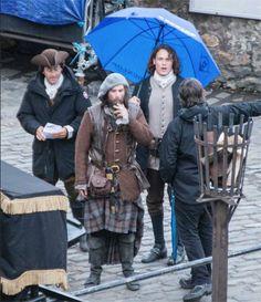 Jamie, Murtaugh, and cousin Jared Fraser - season 2 filming