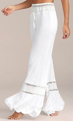 High Waisted Lace Insert Wide Leg Pants