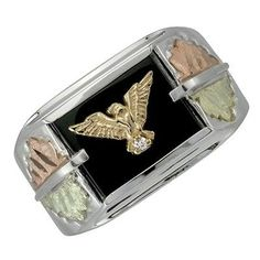 Black Hills Gold Sterling Silver Men's Eagle Ring with Diamond Size 12