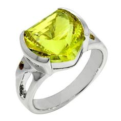 Sterling Silver Fancy Cut Lemon Citrine Ring with Golden Citrine Accents