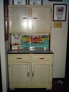 vintage hoosier cabinets | 1930s Hoosier Cabinet with Vintage Kitchen Toys