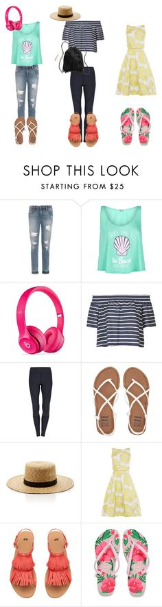 """Suggested Only"" by hellokitty-780 on Polyvore featuring Joe's Jeans, Wildfox, Beats by Dr. Dre, Topshop, Billabong, Janessa Leone, Havaianas and H&M"
