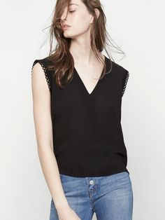 Embroidered wrapover-style top - Tops - Maje.com