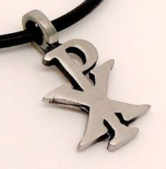 Symbol CHI-RO RHO symbol Christogram Christian monogram P|X Pewter Pendant Necklace by Pretty Jewelry -- Awesome products selected by Anna Churchill