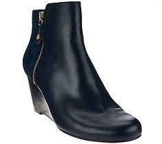 Isaac Mizrahi Live! Leather & Suede Wedge Ankle Boots