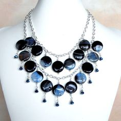 Black & Blue Striped Agate Necklace Multistrand by FiveLittleGems, $80.00