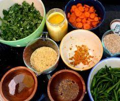 Kitchari ingredients.  Ayervedic cleanse to rejuvinate the body:  Basmati rice, split mung beans, ghee, fresh ginger root, cardamom, cloves, cinnamon,cumin, coriander, turmeric,carrots & kale