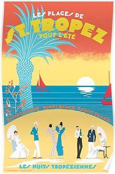 St. Tropez Classic Vintage Travel Poster Poster
