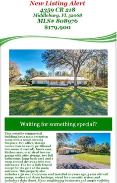 New Listing Alert: Just Listed Commercial building for sale! 4359 CR 218, Middleburg, FL 32068, MLS# 808976, $179,900. Brought to you by INI Realty Investments Inc., the first 100% Commission Real estate Office in Jacksonville, FL. www.100RealestateJax.com