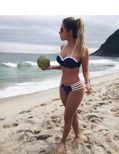 60 Summer Bikinis Ideas Beach outfits and swimsuits for women - Strandoutfit - Swimwear Model, Trendy Swimwear, Cute Swimsuits, Bikini Swimwear, Women Swimsuits, Bikini Beach, Halter Swimsuits, Sexy Bikini, Bikini Girls