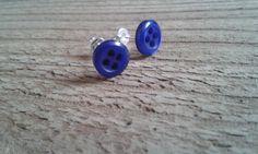 Blue Button Stud Earrings by WinterandDeanCrafts on Etsy