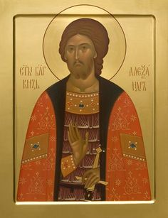 A painted icon of St Alexander Nevsky. Gold-plated with gold leaf. Painted using tempera or acrylic paints according to your preferences Byzantine Art, Orthodox Icons, Tempera, Semi Precious Gemstones, Gold Leaf, Hand Carved, Saints, Photos, Artist
