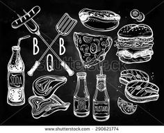 BBQ Party Foods Set. Poster vintage linear style. Isolated vector illustration. Hand drawn elements. Fish, Burger, Meat, Sauces, Pizza, Hot-dog, Soda, Utensils. Menu template for restaurant, bar, pub.