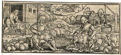 Title (series)The Twelve Months DescriptionJune; loosely copied after Sebald Beham; with a male and female peasant seated outside a barn, shearing sheep; at upper centre a crayfish representing Cancer; illustration to Michael Beuther, 'Calendarium Historicum', Frankfurt: David Zephelius, 1557. 1557 Woodcut Producer nameAfter: Sebald Beham biographyPrinted by: David Zephelius biography School/styleGerman term details Date155