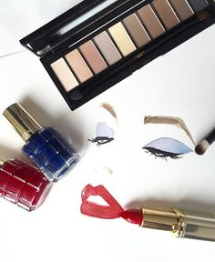 Glam it up  with La Palette Nude Beige, Color Riche 364 Place Vendome and nail with Rubis Follies and Bleu Royal #redcarpetready #colorriche #lorealmakeup #lorealcannes2016
