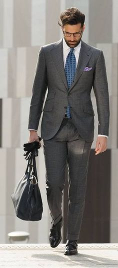 Men's Fashion | Menswear | Men's Outfit for Business | Gray Suit | Moda Masculina | Shop at designerclothingfans.com