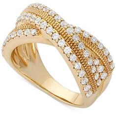 Wrapped in Love Diamond Crossover Ring in 14k Gold (1 ct. t.w.) ($3,000) ❤ liked on Polyvore featuring jewelry, rings, anel, no color, round cut diamond rings, wrap rings, yellow gold rings, 14k gold ring and diamond rings