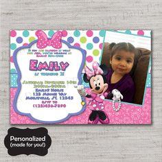 Minnie Mouse invite,Minnie Mouse invitation,Bell,Minnie invitation,Printed invites,Minnie Mouse,MLM75