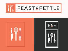 Feast & Fettle Brand designed by Anna Faber-Hammond. Connect with them on Dribbble; Food Brand Logos, Food Branding, Catering Logo, Catering Companies, Brand Identity Design, Branding Design, Logo Design, App Design Inspiration, Mobile App Design