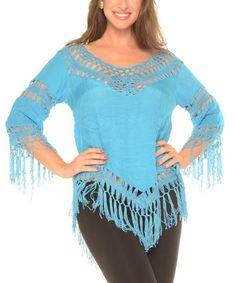 Look at this #zulilyfind! Turquoise Crochet-Accent Fringe Top #zulilyfinds