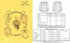 1700-1820 Men's Shirts Pattern in Five Styles