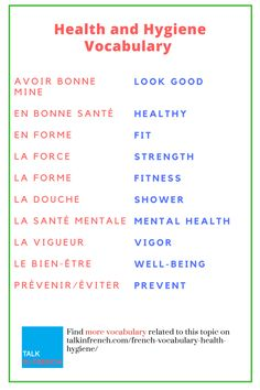 You can also speak the terms related to Health & Hygiene like a native French speaker. Boost up your French vocabulary now. + download the list in PDF format for free! Get it here: https://www.talkinfrench.com/french-vocabulary-health-hygiene/