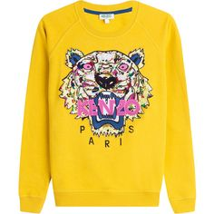Kenzo Embroidered Cotton Sweatshirt (314 AUD) ❤ liked on Polyvore featuring tops, hoodies, sweatshirts, yellow, round neck top, long sleeve tops, kenzo sweatshirt, embroidery top and logo sweatshirts