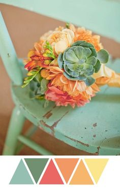 succulent bouquet, green, orange, mint, and yellow - this color palette