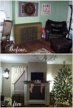 We built a faux mantel to cover our radiator, and it became the focal point of our entire living room. Home Fireplace, Faux Fireplace, Fireplaces, Furniture Projects, Home Projects, Vintage Apartment, Small Master Bedroom, Bohemian Living, Modern Bohemian