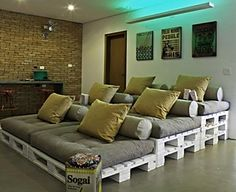 Woodpallets Projects. Home Theater Seating - Do you want to add home theater seating to your home without the high cost? Well home theater seating made out of wood pallets is the perfect solution for you.