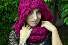 Mulberry crocheted winter infinity scarf cowl by ValkinThreads, $28.00 #fashion #apparel #accessories #style