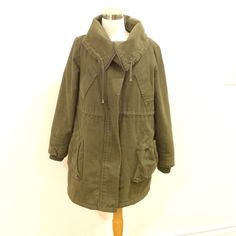 Military inspired jacket Great quality heavy duty jacket. Chic military look, insulated inside and great modern design. Pocket needs to be sewn back on. Good condition. Will fit xs to med depending on desired look. Jackets & Coats