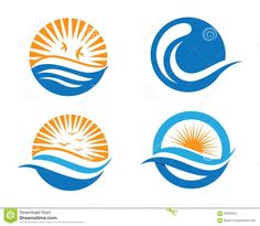 Ocean Beach Wave Logo Stock Vector - Image: 60506334