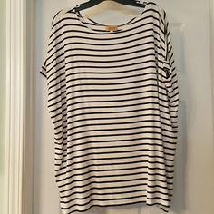 Piko short sleeve tshirt Black and white striped long, loose tshirt. 95% rayon, 5% spandex. Worn once. Comes from smoke-free home. PIKO Tops Tees - Short Sleeve