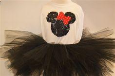 Minnie Mouse tutu set. www.stylotutuboutique.com  #stylotutuboutique #minniemouse  #blacktutu    #personalized #littlegirl