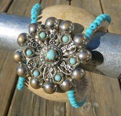 Turquoise Vintage Baseball Cuff Bracelet by ToZenAndBack on Etsy