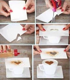 il suffit préparer un crayon, papier et un ciseaux pour faire un beau cœur sur le café ....... simply prepare a pencil, paper and scissors to make a beautiful heart on coffee