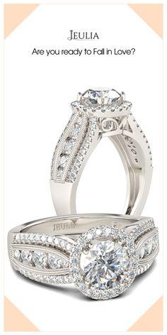 Jeulia Halo Milgrain Round Cut Created White Sapphire Women's Engagement Ring #Jeulia