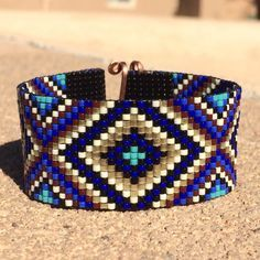 Sparkling Blues Bead Loom Bracelet Bohemian Boho Artisanal Jewelry Indian Western Beaded Tribal Southwestern Turquoise Brown Santa Fe