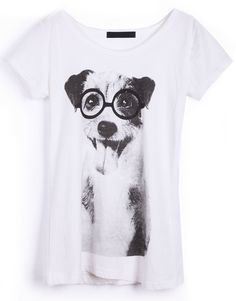 White Eyeglassed Dog Print Short Sleeve T-shirt - Sheinside.com