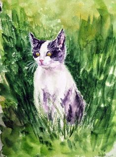 Kitten Painting Playful kitten Cute kitten watercolors on paper gift for catlover, Watercolour by Art by Aashaa