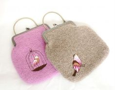 Two knitted felted and embroidered bags - CraftStylish