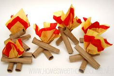 Indoor Camping 101: These Toilet Paper Tube Mini- Campfires would make the perfect addition to an indoor camping adventure! From @Rochelle {Home Sweet Homebodies}.